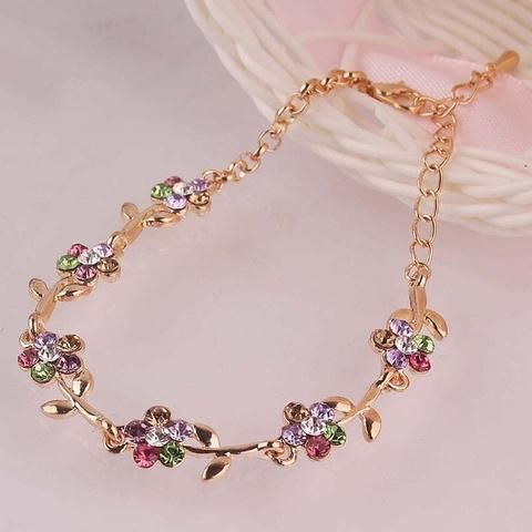 14K Gold Plated Colourful Flower Anklet