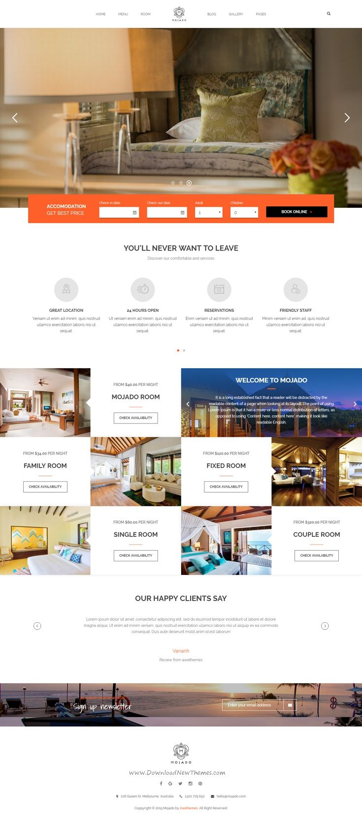 Mojado is a powerful and feature-rich WordPress theme that brings you everything to run a high performance and well-designed hotel website. The theme comes with its own booking plugin to create a top-notch online booking system