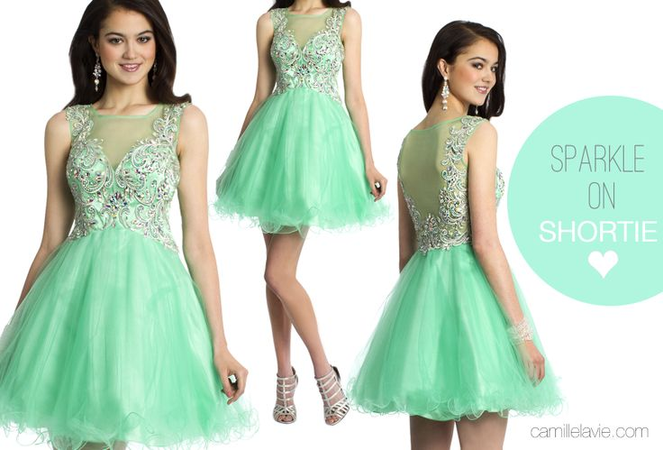 Camille La Vie Short Party Prom Dress with Illusion in green: Prom Dress