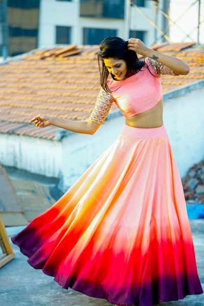 Light Lehengas - Shaded Ombre Lehenga | WedMeGood | Shaded Lehenga with Sunset Colors and Embellished Sleeves #wedmegood #lehenga #ombre #indianbride #indianwedding #mehendi