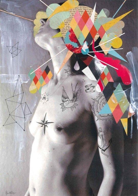 Nicolas Blind, Mel, Bic et collage sur photo, 30x42 cm, 2013 ©