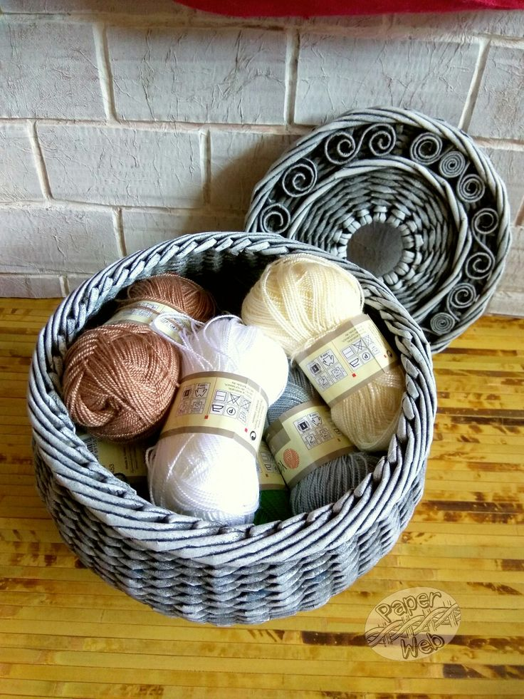 Плетеный горшочек для пряжи, хороший подарок для вязальщиц. Vk.com/paper_web