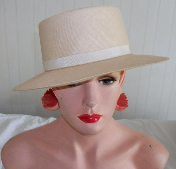 Classic Vintage Chanel Hat 1980s Cream Straw by SmokyPearls