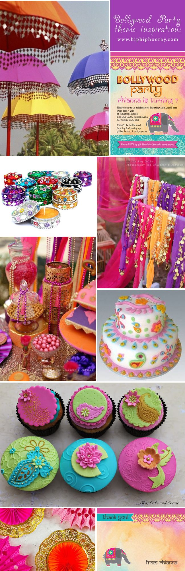 Bollywood children's birthday part themes, ideas and stationery from HipHipHooray.com. Digital PDF invite downloads and DIY invitations, as well as printable thank you cards and designs. Personalise online with your own text. Our designs include Bollywood Party invitations and thank you cards, perfect for any kids party. Also find inspiration for decorations, decor, themes, favours, food, cakes and more!