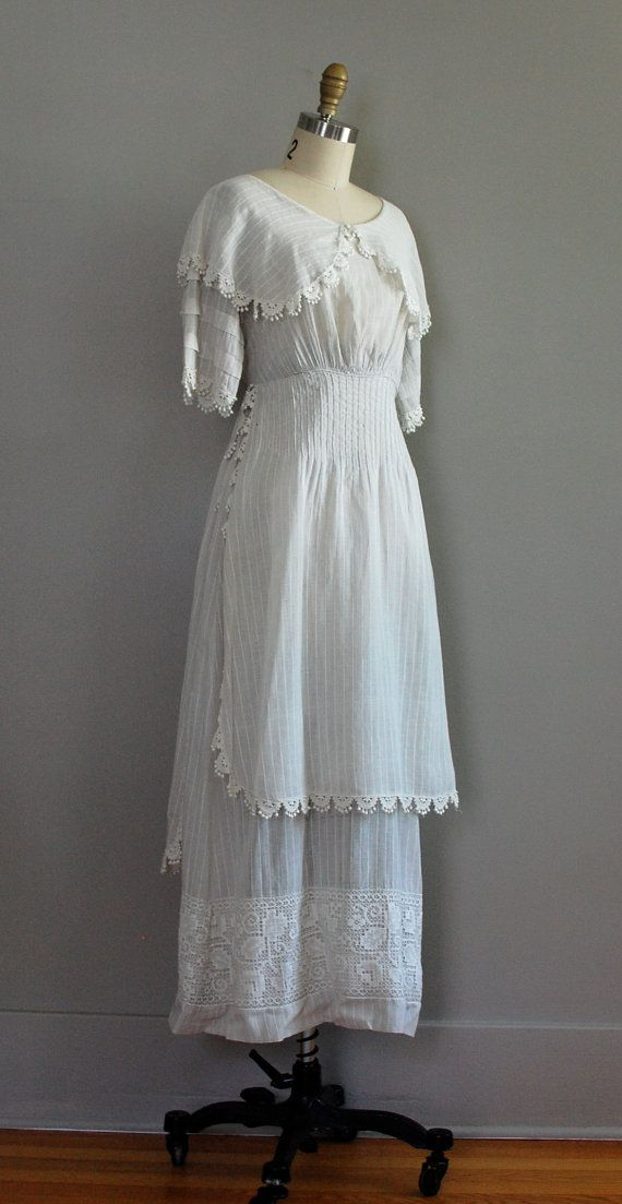 Edwardian tea dress in traditional white cotton lawn with woven pinstripes, Genoese lace trim on collar and overdress and wide Irish lace at hem