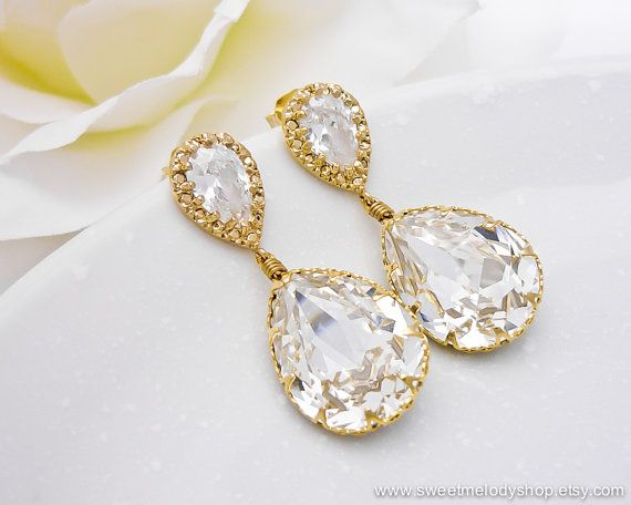 Wedding Bridesmaid Earrings Bridal Jewelry Wedding Jewelry Clear White Swarovski Crystal Tear Drops with Cubic Zirconia
