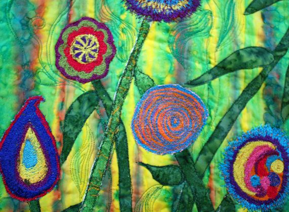 art quilts - fantasy flowers in brilliant by Barbara Harms of BarbaraHarmsFiberArt on Etsy