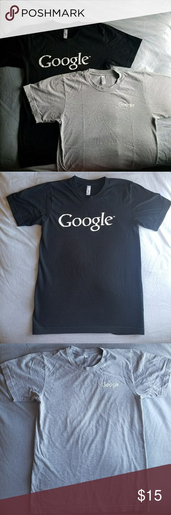 *Bundle Alert* Two Google T-shirts Size Small Selling two Google logo T-Shirts! The black shirt has large white print across the chest. The grey has small white print on the left chest.  Makes an awesome gift for the holidays!  Size Adult Small  T-shirts made by American Apparel  Purchased from the Google Store in Mountain View, California  Excellent condition. All offers are welcome!! American Apparel Shirts Tees - Short Sleeve