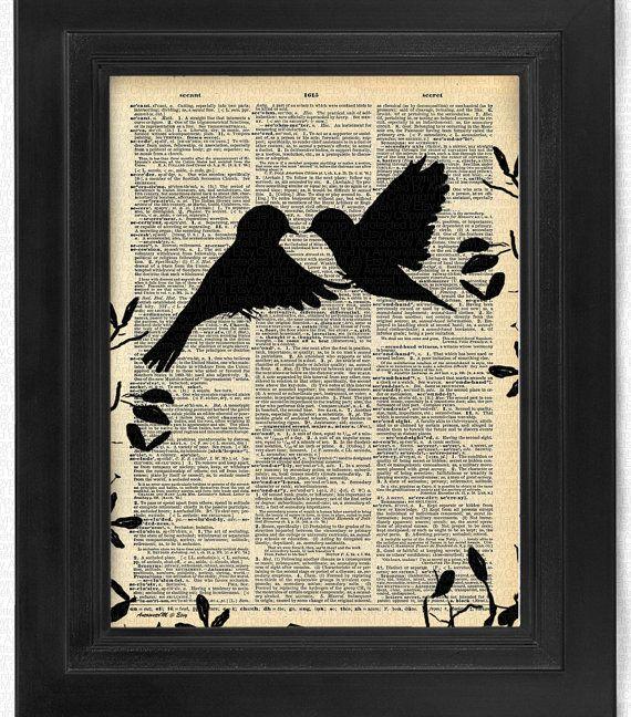 Love at First Sight Love Birds Set of 4 Bird art by HelloUwall