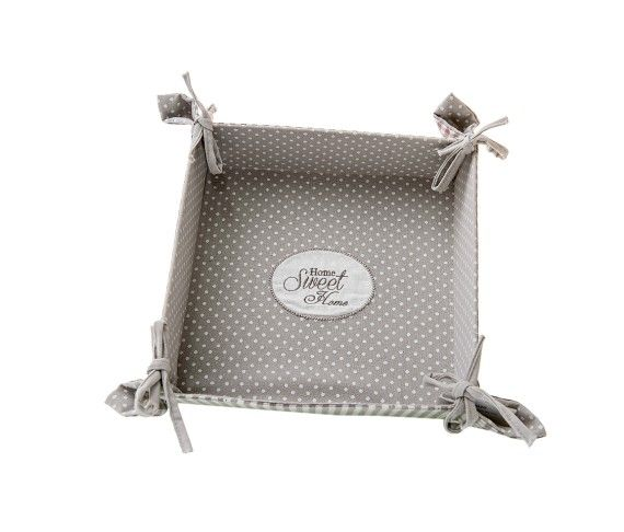 8,60 € - Portatovaglioli Home Sweet Home, stile Shabby Chic, realizzato in stoffa, simpatica idea per bomboniera matrimonio, cm. 21x21.
