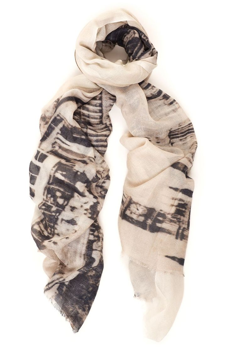 This scarf with a view of London is allready an iconic by Lily and Lionel. Available online: http://www.sofinah.fi/product/340/scarf-london-ecru