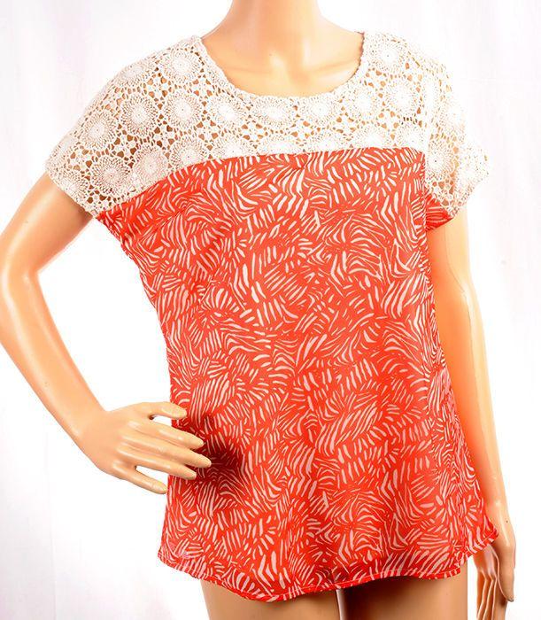 Dressbarn's Roz & Ali Crocheted Coral Top