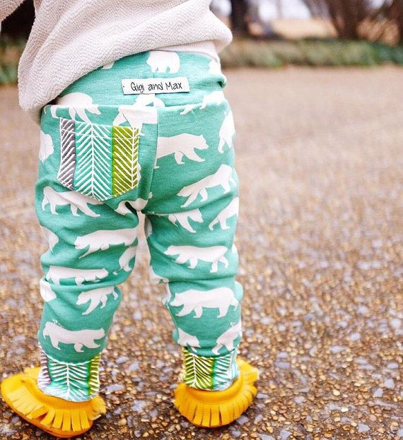Organic Baby Leggings Baby Boy Bears on Light teal, Baby Leggings, Baby Pants, Toddler Leggings
