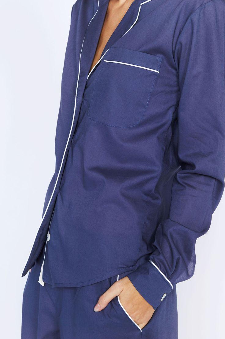 Dempsey Long Navy Luxury Cotton Womens Pyjama Set – Desmond & Dempsey