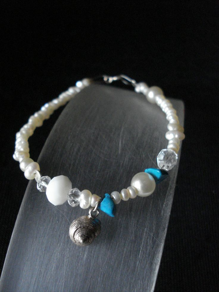 handmade bracelet of silver 925,pearls and turquoise