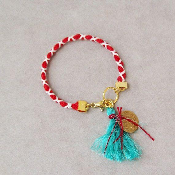 Red white March bracelet Greek folk bracelet red and by ArktosArt