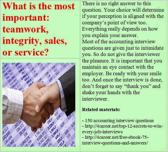 Related materials: 150 accounting interview questions. Ebook: interviewquestionsebooks.com/download/UltimateGuideToJobInterviewAnswers