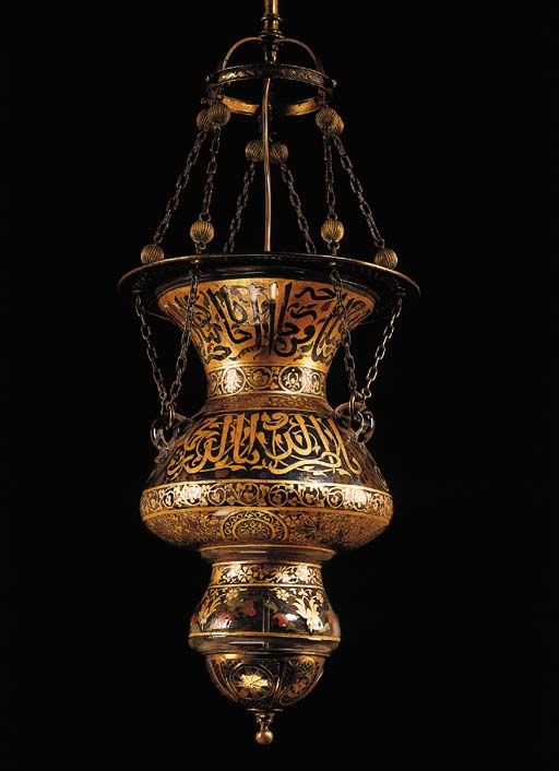 A MAMLUK STYLE POLYCHROME-PAINTED AND PARCEL-GILDED GLASS AND BRASS MOSQUE LANTERN LATE 19TH CENTURY