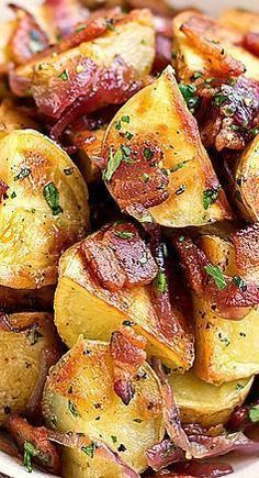 Warm, Roasted Baby Potato Salad with Crispy Bacon, Caramelized Onion, and Warm Bacon Vinaigrette