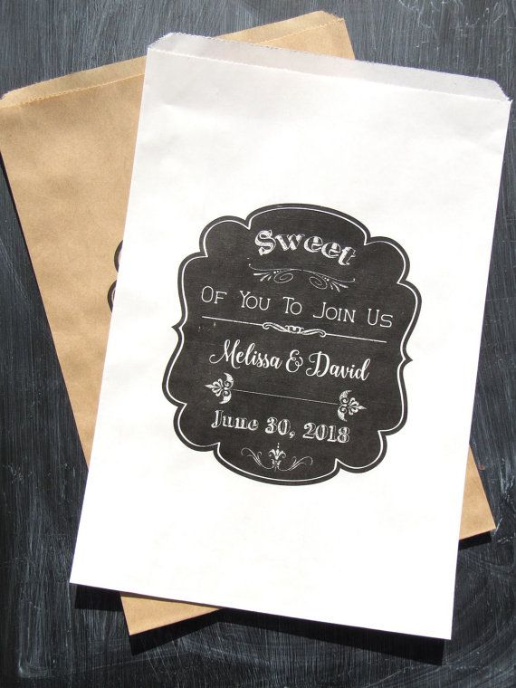Wedding Candy Buffet Bags   Wedding Favor Bags   Chalkboard Wedding Ideas   Chalkboard Wedding Favors   by Abbey and Izzie Designs