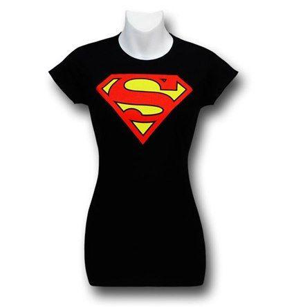 Superman Symbol Women's Black T-Shirt