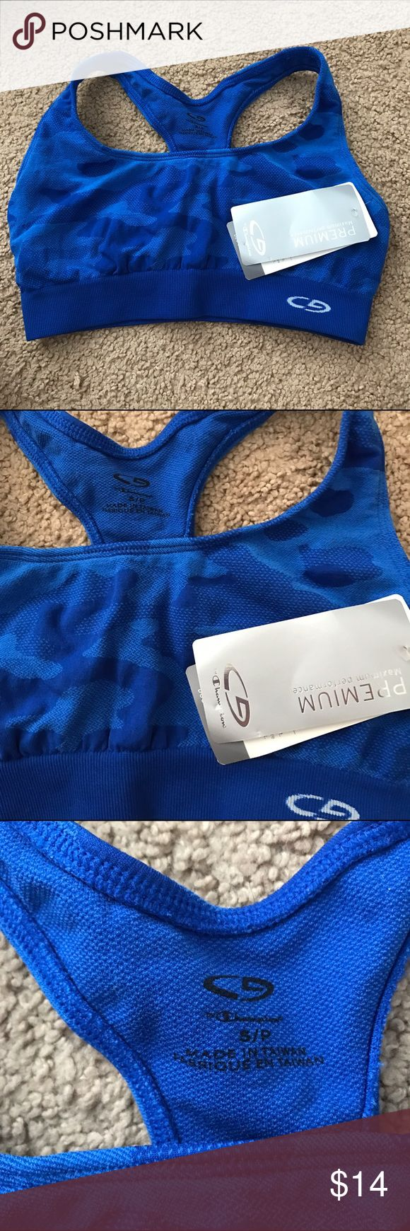 Small NWT champion sports bra Super cute and new. Almost an army print to it but in a cobalt blue. Stretchy material Champion Intimates & Sleepwear Bras