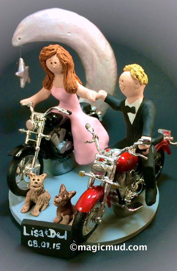 Crescent Moon Harleys Wedding Cake Topper    We have pictured Harley motorcycle caketoppers.... but any style of motorcycle can be incorporated,,,a dirt bike, road bike, sport bike, Honda, Suzuki,Yamaha, Kawasaki, Ducati, BMW, whatever you want....    $235   #magicmud   1 800 231 9814   www.magicmud.com