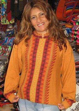 Orange farbener #Damen #Pullover mit Stehkragen, #Alpakawolle