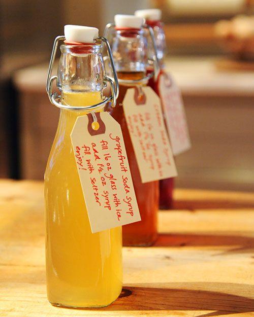 Grapefruit Soda Syrup   Ingredients    2 cups sugar  Zest of 2 pink grapefruits  Juice of 1 pink grapefruit  2 teaspoons lemon juice  Pinch of salt  Ice cubes, for serving  Seltzer water, for serving