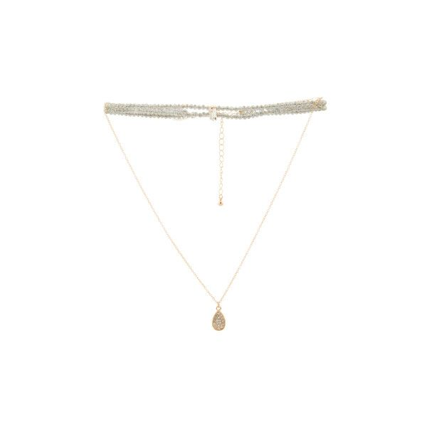 2 Row Crystal Bead Teardrop Pave Choker Necklace ($12) ❤ liked on Polyvore featuring jewelry, necklaces, crystal beads jewellery, choker jewellery, teardrop necklaces, teardrop jewelry and choker necklace