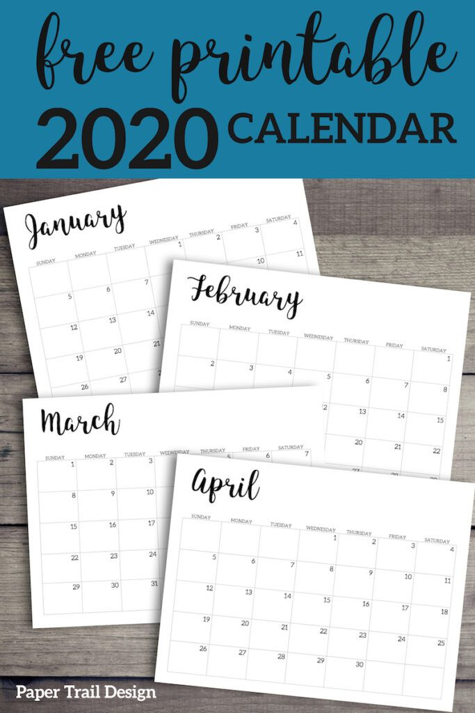 2020 Calendar Printable Free Template Paper Trail Design