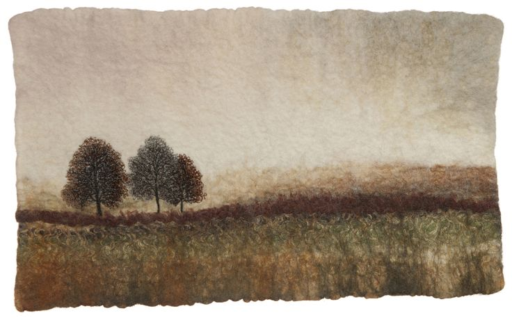 F is for felting. Felted wall piece by Valerie Wartelle with hand and machine stitched embellishments.
