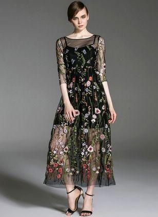 Algodão Poliéster Floral Manga 1014774/1014774 Longo Vintage Vestidos de (1014774) @ floryday.com