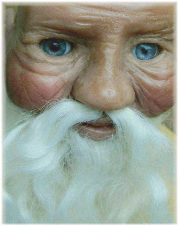 Clay Santa with glass eyes/mohair beard