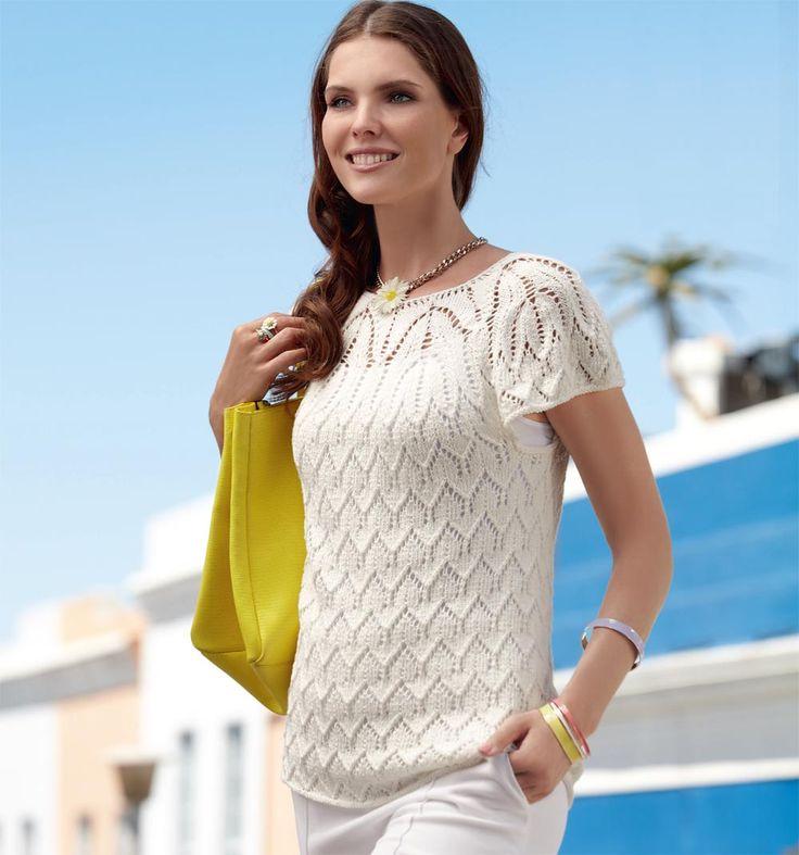 Белый пуловер с короткими рукавами - схема вязания спицами. Вяжем Пуловеры на Verena.ru