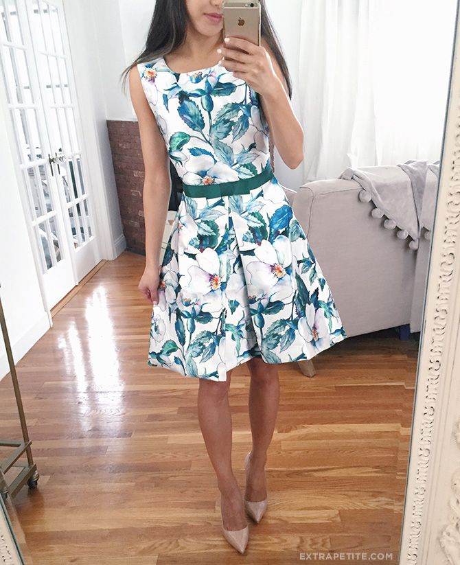 teal blue green floral fit and flare dress spring style