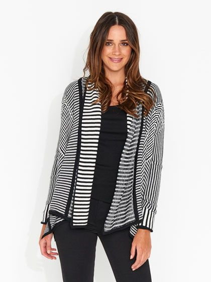 Multi Stripe Waterfall Cardi
