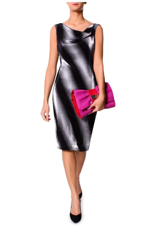 Srebrno-Czarna Sukienka w Diagonalny Wzór