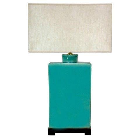 "Rectangular Turquoise Lamp (28"")"