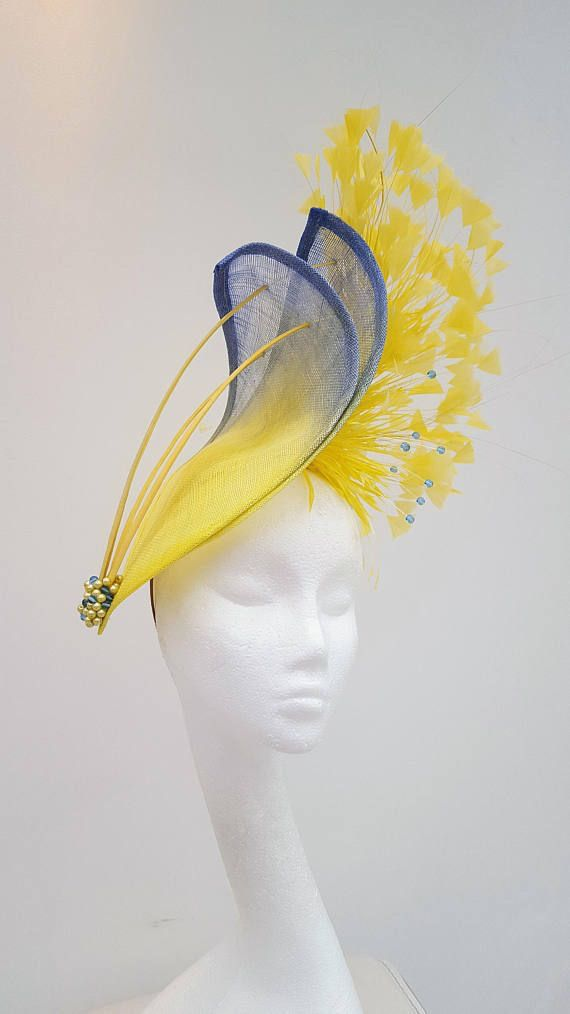 Royal blue yellow purple feather hat fascinator hat headpiece vintage horse fascinator wedding bridal mother of the bride custom made
