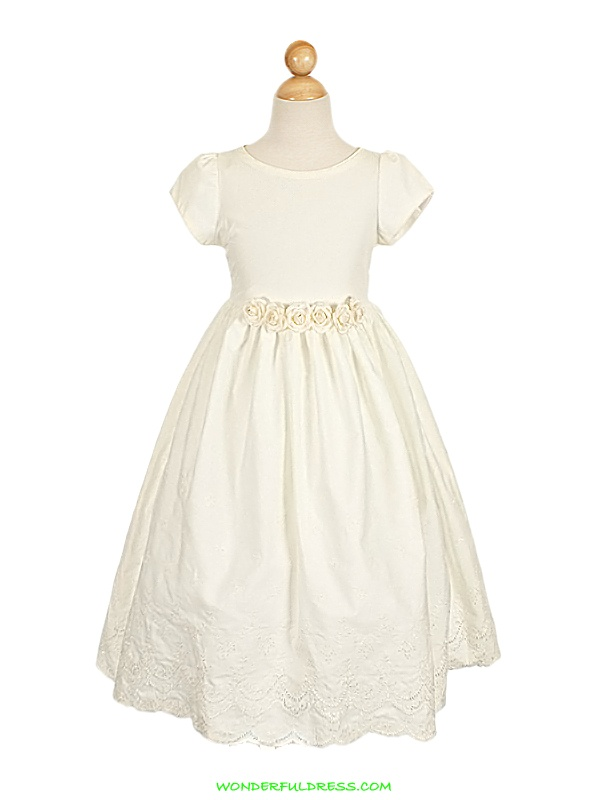 Ivory French Eyelet Embroidered Flower Girl Dress  Fall size 6??