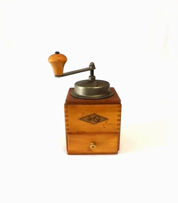 KYM Coffee Grinder, Vintage Wooden Manual Mill, Farmhouse Kitchen Decor by MomsantiquesNthings on Etsy