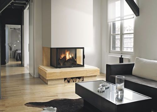 Wood fireplace / wall-mounted / contemporary / closed hearth ARPÈGE 2 Richard le Droff