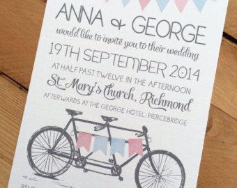 50 x Tandem Bunting Wedding Invitations A6 with by RubyBlueCards