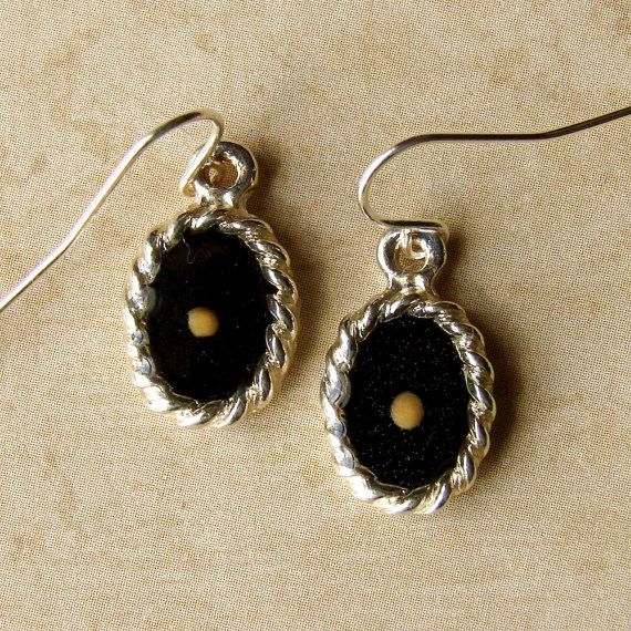 Mustard Seed Earrings... Midnight Black on Bright by dirtroadsouth