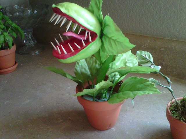 Little Shop of Horrors plant tutorial. This would look awesome on a table for Halloween or peeking out of the plants in a yard. Can you imagine the little trick-or-treaters passing a few of these on the porch?