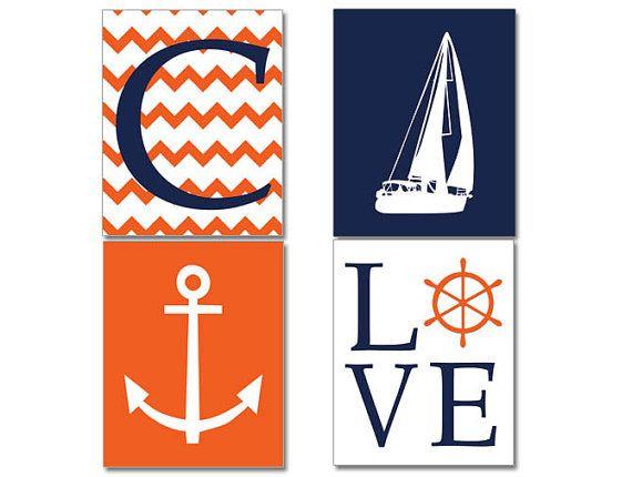 Navy Orange Nautical Nursery Decor, Nautical Print set, Four prints, Sailboat, Chevron Monogram, Anchor, Love, Nautical Decor
