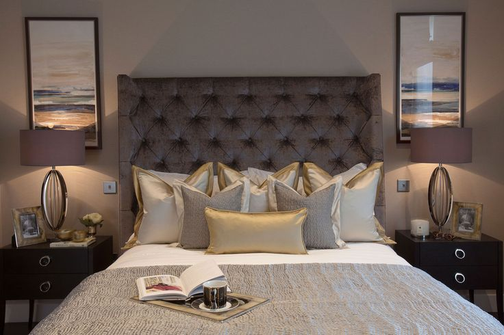 Feature headboard with grey and brass details | JHR Interiors