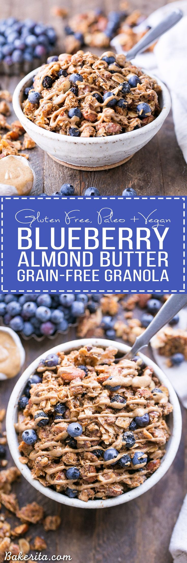This Blueberry Almond Butter Grain-Free Granola is an easy and satisfying gluten-free, vegan and paleo granola recipe that makes the perfect breakfast or snack. It's made with simple, wholesome ingredients and is loaded with filling nuts and healthy fats to keep you satisfied.