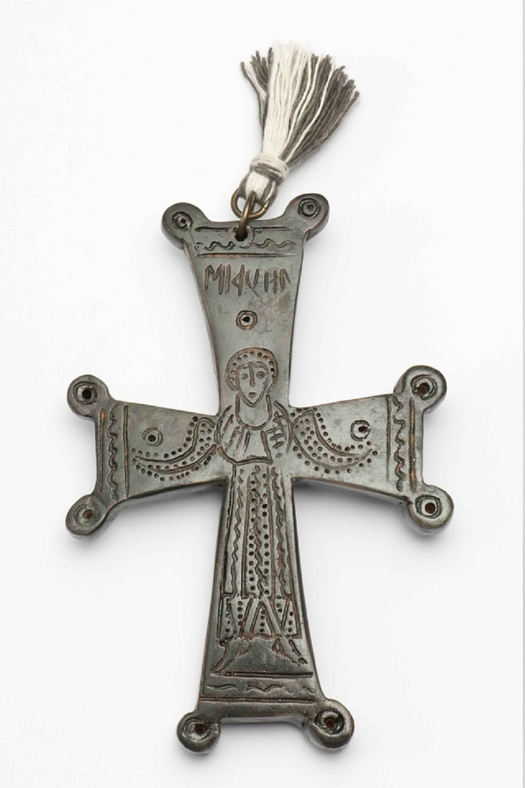 Cross  Byzantine bronze cross from Nisyros (11th-12th century AD)  The cross is decorated with an incised representation of the Archangel Michael, who is named by inscription  Design: Thomas Kotsigiannis
